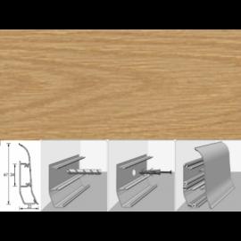 Напольный плинтус Идеал Элит (пластиковый с кабель-каналом) 201 Дуб 67х22мм