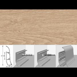 Напольный плинтус Идеал Элит (пластиковый с кабель-каналом) 203 Дуб беленый 67х22мм