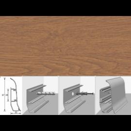 Напольный плинтус Идеал Элит (пластиковый с кабель-каналом) 206 Дуб коньячный 67х22мм