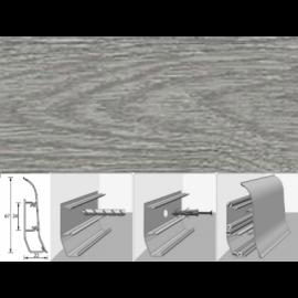 Напольный плинтус Идеал Элит (пластиковый с кабель-каналом) 210 Дуб пепельный 67х22мм
