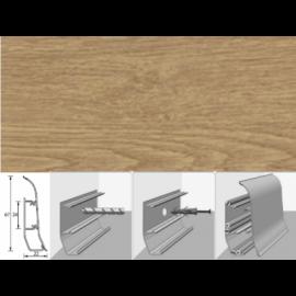 Напольный плинтус Идеал Элит (пластиковый с кабель-каналом) 211 Дуб рустик 67х22мм