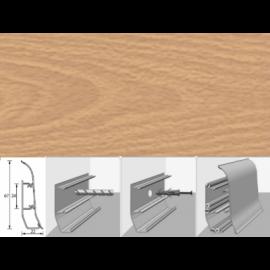 Напольный плинтус Идеал Элит (пластиковый с кабель-каналом) 212 Дуб светлый 67х22мм
