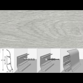 Напольный плинтус Идеал Элит (пластиковый с кабель-каналом) 214 Дуб серый 67х22мм