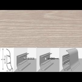 Напольный плинтус Идеал Элит (пластиковый с кабель-каналом) 215 Дуб снежный 67х22мм