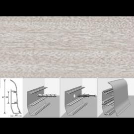 Напольный плинтус Идеал Элит (пластиковый с кабель-каналом) 254 Ясень светлый 67х22мм