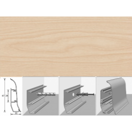 Напольный плинтус Идеал Элит (пластиковый с кабель-каналом) 261 Клен 67х22мм